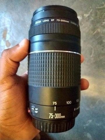 Lente Canon 75-300mm, Tripé + Cartão De Memória 32gb