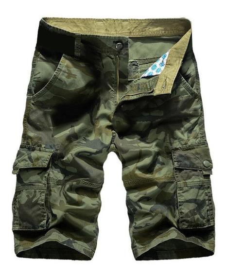 Pantalones Cortos Hombres Camuflaje Algodón Suelto
