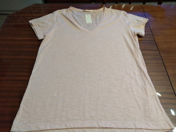 Remera Awada Escote V Color Salmon Claro T L/xl