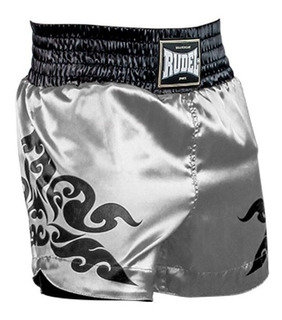 Shorts Muay Thai Rudel Cetim Corner Prata Treino Academia