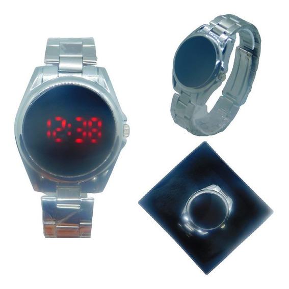 Relógio Unisex Prata Digital Led Touch Screen Mais Caixa