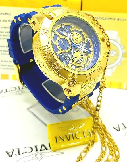Relógio De Luxo Invicta Subaqua Banhado Ouro 18k+ Brinde