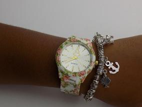 Relógio Florido Dourado Rose Creme Strass Original Barato