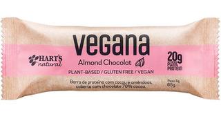 4 Barra De Proteína Vegana Almond Chocolat 65g Harts Natural