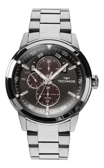 Relógio Technos Aço Multifunções 6p57ad/1p Preto