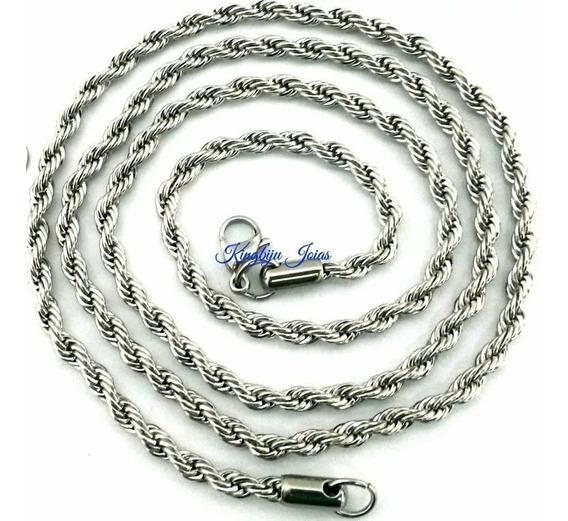 Cordão Trançado Baiano 4mm X 70cm Aço Cirúrgico Inox 316l