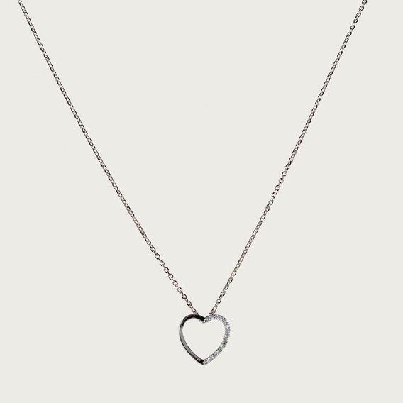 Gargantilha Coração De Prata Com Zircônia
