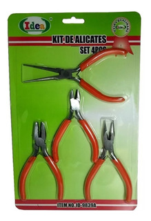 Kit Conjunto Alicates 4 Pcs Completo Mini Para Bijuterias