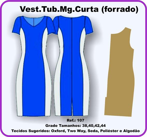Moldes De Vestido Tub. Mg. Curta (forrado) 107