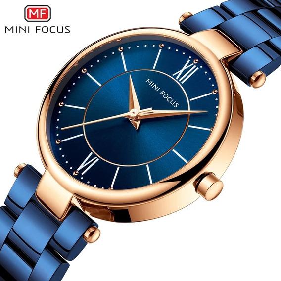 Relógio Feminino Minifocus Azul Original Importado Top Na Caixa Prova D