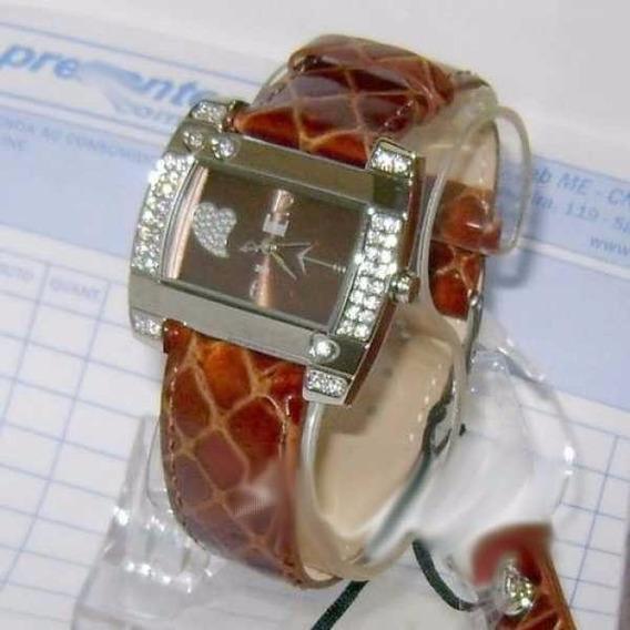 Relógio Feminino Dumont Stras Pulseira Couro Marrom Sw35044r