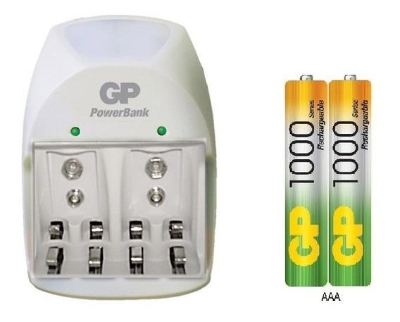 Batería Pila Recargable Aaa Gp Mah El Par Con Cargador