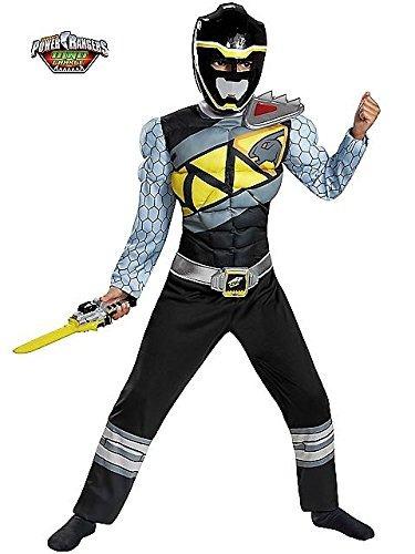 Disfraz Negro Ranger Dino Carga Muscular Clásico Traje,