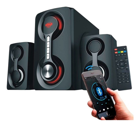 Home Theater Som Micro System 2.1 Bluetooth 60w Rms Usb Fm