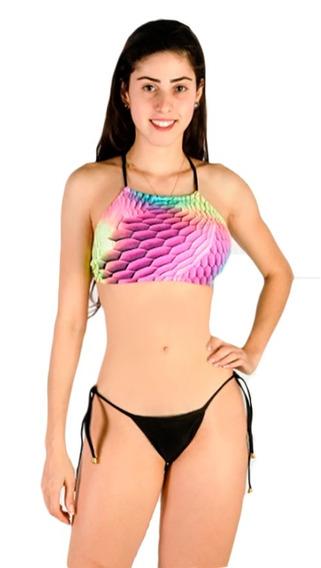 Biquíni Cropped Sereia Levanta Bumbum Liso Praia Verão