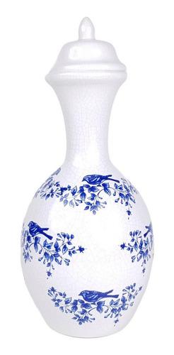 Vaso Branco E Azul | 18 Larg X 40 Alt X 18 Prof