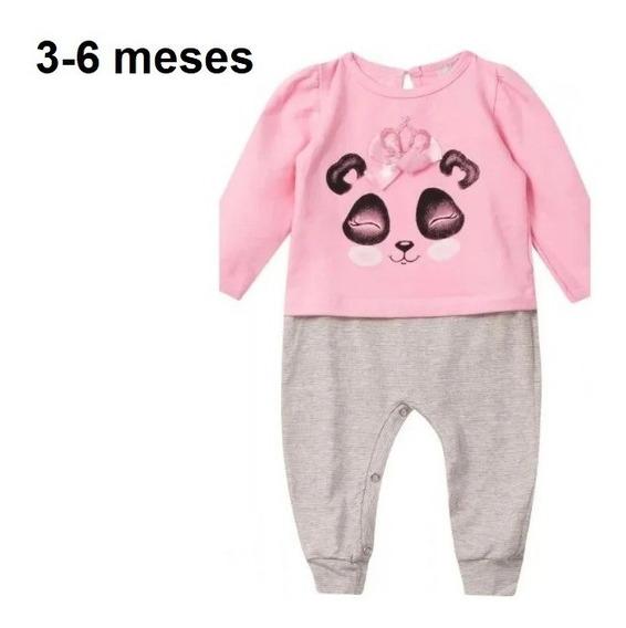 Macaquinho Moletom Algodão Roupa Panda Menina Bebê Neném