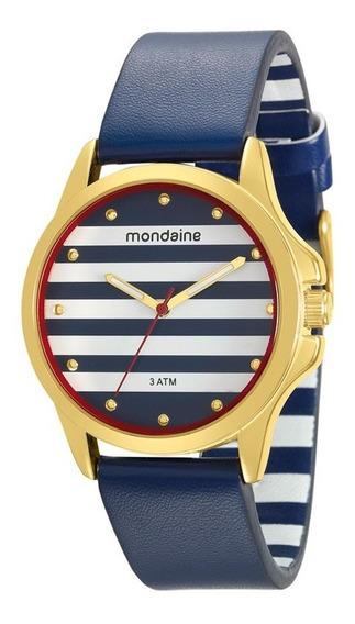 Relógio Mondaine Feminino Pulseira De Couro Azul
