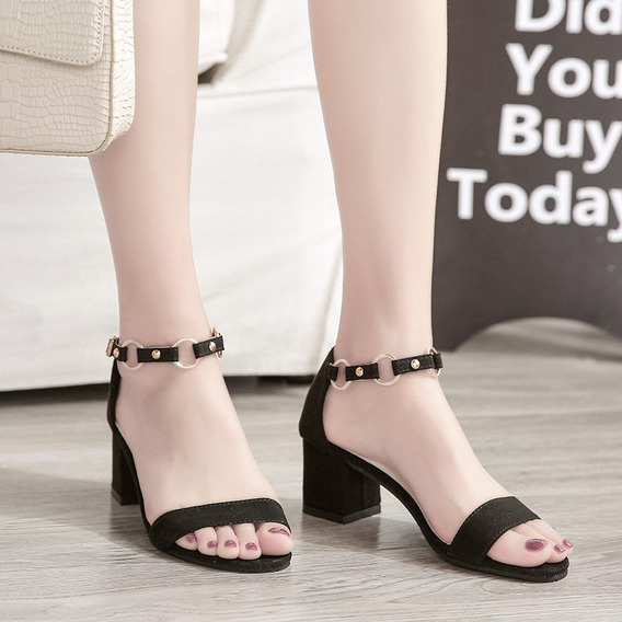 Mulheres Sandálias Grossas Sapatos De Salto Alto