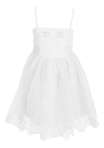 Vestido Nena, Con Tul Y Aplique Importado, Brishka, N-0012