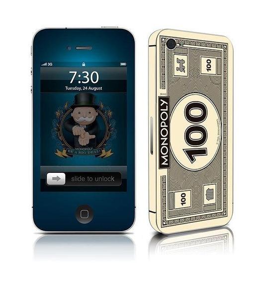 Adesivo Para Celular Money Monopoly - Para iPhone 4