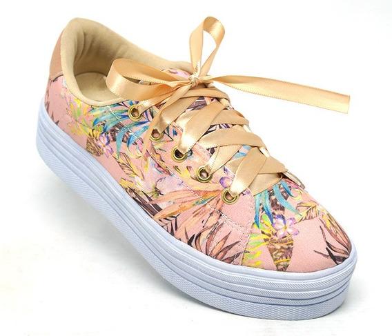 Tênis Feminino Doma Shoes Plataforma Rosê Floral Original.