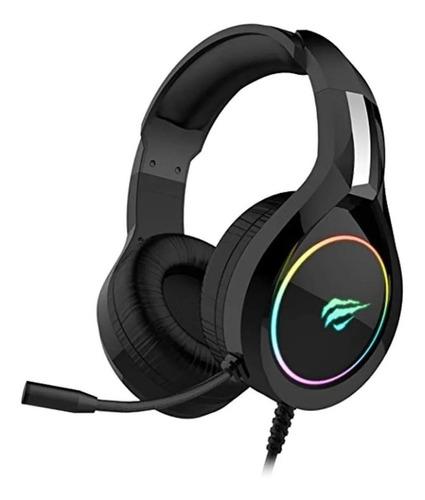 Imagem 1 de 7 de Headset gamer Havit H2232D preto com luz  rgb LED