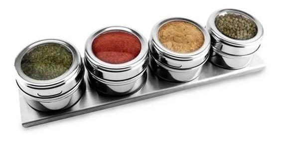 Jogo Potes P/ Condimentos Magneticos Em Aço Inox Com 5 Peças