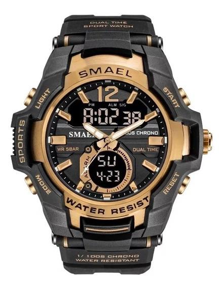 Relógio Militar Esportivo Smael Dual Time -1805 - Gold
