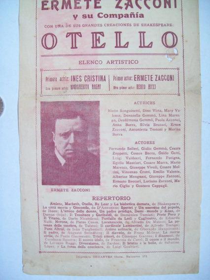 Antiguo Teatro Publicidad Programa Otello 1923