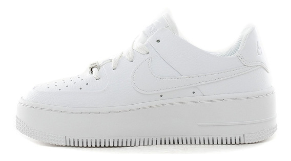 Zapatillas Nike Air Force 1 Sage Low Plathaform White- Mujer