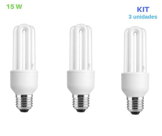 Lâmpada Compacta 15w 110v 6500k Luz Branca E27 3 Unid