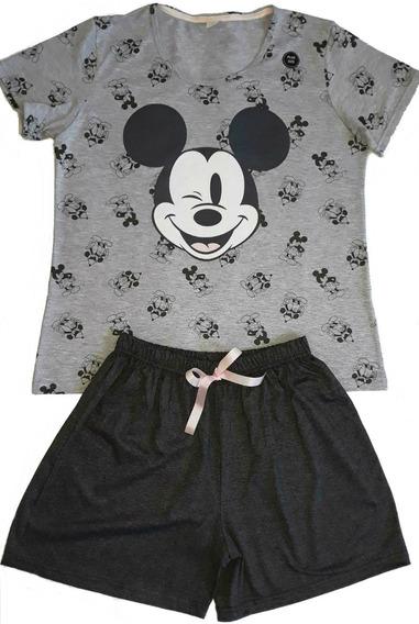 Pijama Feminino Adulto Plus Size Verão Short Camiseta Mickey