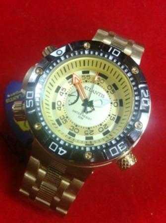 Relógio Original Atlantis Dourado A3400 Big Grande 3400