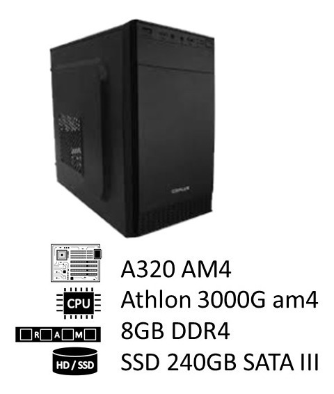 Pc Amd Athlon 3000g Am4, 8gb Ddr4 2400mhz, Ssd 240gb