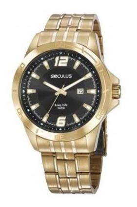 Relógio Seculus Dourado Masculino Long Life 28962gpsvda1