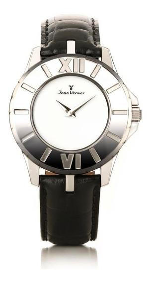 Relógio Jean Vernier Caixa Aço Pulseira Couro Vidro Cristal