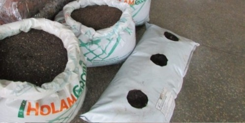 Slab Bolsa Cultivo 70cm X 45cm Blanco Y Negro Con Sustrato
