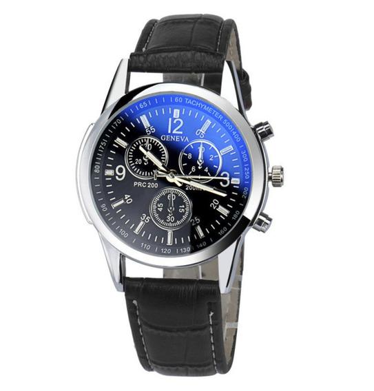 Relógio Masculino Pulseira Couro Original Social Barato Geneva Pronta Entrega
