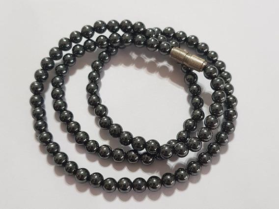 Colar Gargantilha Pedra Negra Preta Hermatita Pequena 45cm