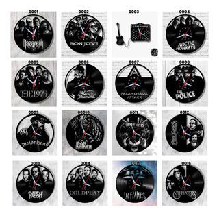Kit Com 7 Relógios Parede Vinil Disco Arte No Lp Banda Rock