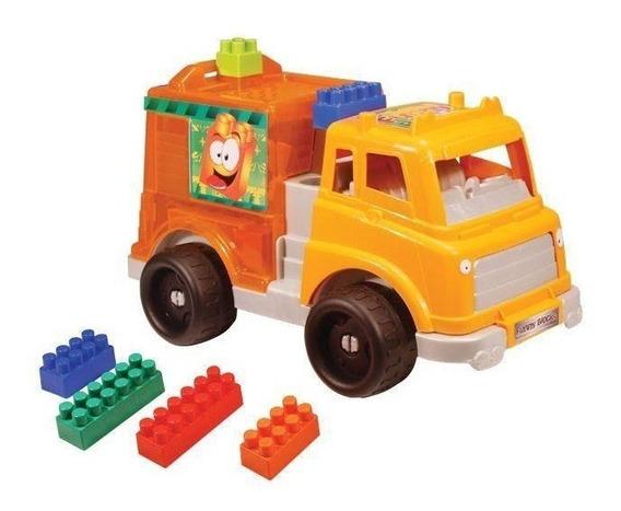 Caminhão Laranja Smoby Com Blocos De Encaixar Gulliver