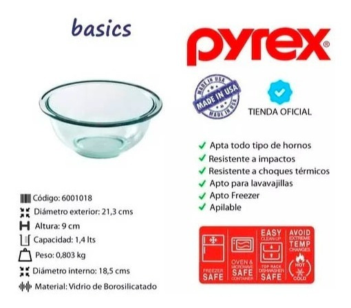 Set Bols X 3 Pyrex Para Preparados O Mezclas Color