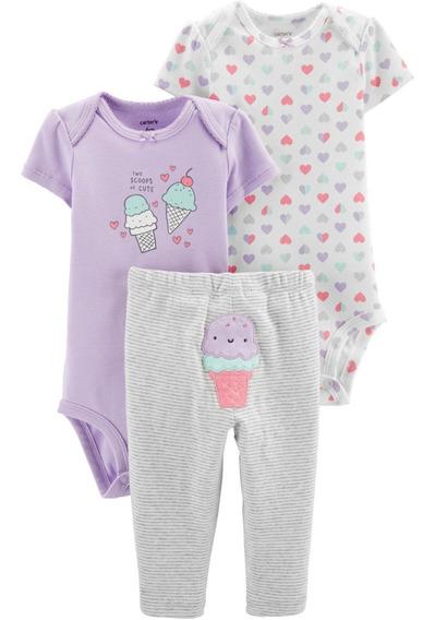 Set Carters Niña Bebe 3 Piezas Conjunto Lote Ropa Americana