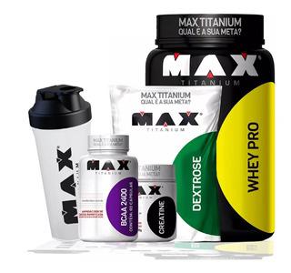 Kit05 - Whey Pro+ Dextrose+ Bcaa+creatina Max Titanium