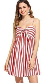 Vestido Casual Rojo Y Blanco Vestidos Casuales Ropa Mujer