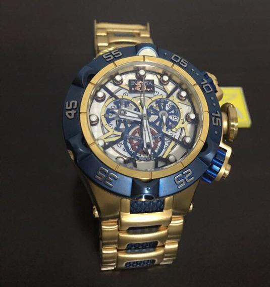 Relogio J5213 Invicta Bolt Zeus Skeleton Dourado Azul