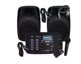 Kit Caixa Mixer Ativa Novik Evo410 Mesa + Microfone + Cabos