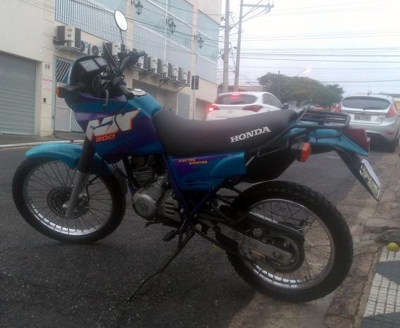 Honda Nx 200 96 Azul Motor C/ Laudo. Sem Vazamentos-abaixou