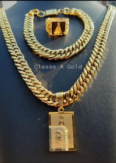 Corrente Grossa Banhada Ouro18k +pingent Santa+pulseira Anel